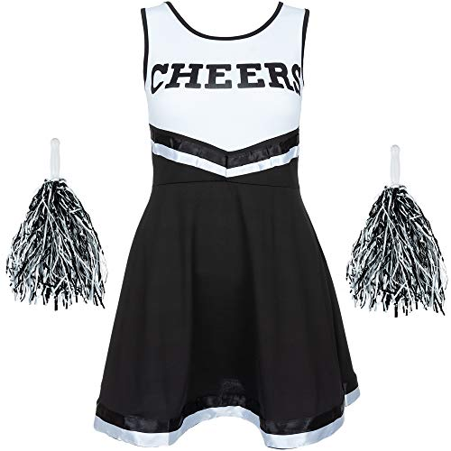 Redstar Fancy Dress - Damen Cheerleader-Kostüm - Uniform mit Pompons - Halloween, American High School - 6 Größen 34-44 - Schwarz - S