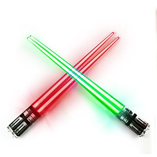 Chop Sabers Light Up LightSaber Chopsticks Set, 2 Pairs, Red Green