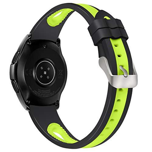 für Samsung Galaxy Watch 46mm Bracelet Armband Sport Silikon Armband Strap weich Uhrenarmband Sportarmband Uhrenarmband Erstatzband Fitness Verstellbares Fitnessband Wristband (Grün)