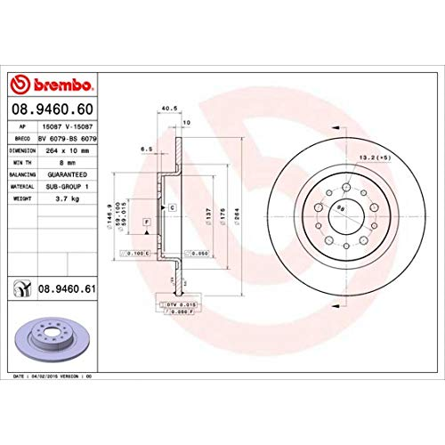 Bremsscheibe COATED DISC LINE - Brembo 08.9460.61