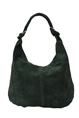 AMBRA Moda Damen Wildleder Schultertasch Damen Handtasche Hobo-Bags Shopper Beuteltaschen Veloursleder Suede Ledertasche DIN-A4 42cm x 35cmx 4cm WL803 (Dunkelgrün)