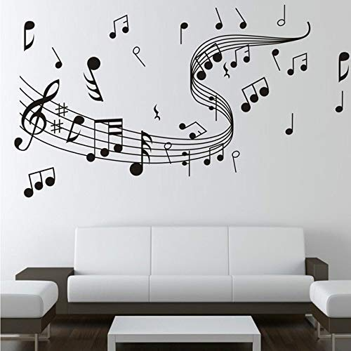 JQSM Música Pegatinas de Pared Notas Musicales Negras Papel Tapiz Dormitorio Sala de Estar Aula Hoja Decorativa Música Extraíble...