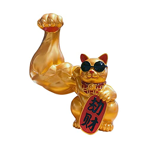 wokao Abstract Art Trends Creative Muscle Arm Lucky Cat Ornaments Golden Resin Crafts Living Room Cute Animal Small Decoration Modern Home Decoration Gift