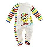 Baby Strampler | Jungen | Langarm | 100% Baumwolle | Overall | Spielanzug | Einteiler | Spielanzug | Body | Strampelanzug | Babykleidung | Spieler (56, Weiß Bunt)
