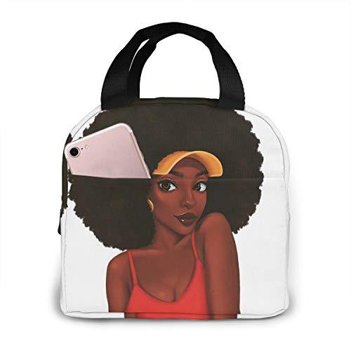 Matthzhang Lunch Bag Black Art African American Women Girl Afro Black Women Insulated Lunch Tote Boxes Cooler Bag For Adults Men Women Kids Boys Nurses Teens