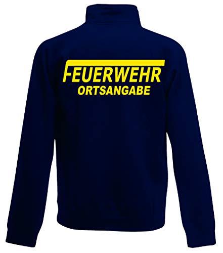 Feuerwehr Sweat-Jacke, Navy Blue, Bedruckt mit Neongelb oder reflexsilber (XL, Neongelb)