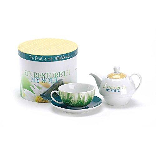 Psalm 23 He Restoreth My Soul Porcelain Tea Set For One
