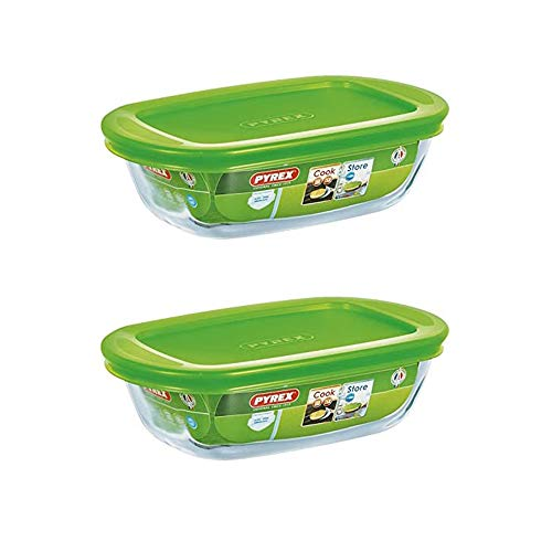 Pyrex Microwave Safe Classic Rectangular Glass Dish Vented Lid 0.35 Litre Green (Pack of 2)