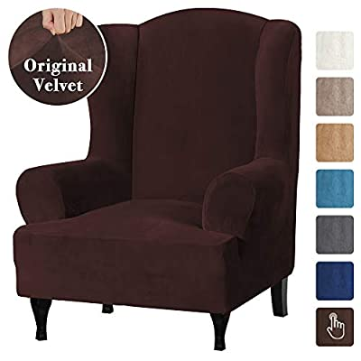 Real Velvet Elegant Luxury High Spandex Sofa Cover Stretch Furniture Protector, 1 Piece Super Stretch Stylish Wingback Chair Cover Slipcover Machine Washable