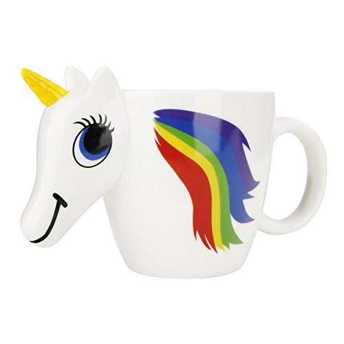 Yiushing Unicorn Ceramic Color Changing Mug Original 3D Heat Sensitive Magic Coffee Cup