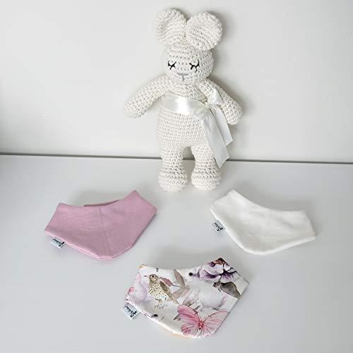 3er Set Halstücher - Altrose/Weiß/Frühlingszeit Baby Junge Baby Mädchen Halstuch Spucktuch Lätzchen