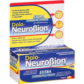Dolo Neurobion 30 Tablets - Pain Reliever, Fever Reducer, Extra Strength, Fuerte, Alivia el Dolor, Reduce la Fiebre