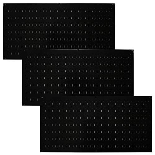 Wall Control Pegboard Value Pack - (3) Pack of Wall Control 16-Inch Tall x 32-Inch Wide Horizontal Black Metal Pegboards for Wall Home & Garage Tool Storage Organization (Black Pegboard)