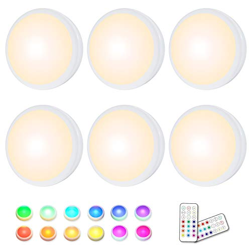 Puck Lights, 16 Colors Changeable LED Puck lightings Battery Powered dimmable Under Cabinet Lights Wireless Under Counter Lights Mini Night Light, with 2 Remote Controls & Timing Function