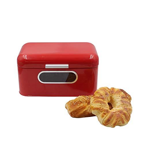 Brotkasten Metall Brotbehälter für Küche Arbeitsplatte Bauernhaus Dekor Brotbox für hausgemachtes Brot, Gebäck, Abendessen Brötchen, Vintage Retro Design - Rot