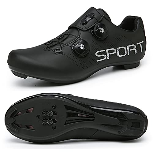 JIASUQI Zapatillas de ciclismo para mujer y hombre, para carretera, SPD, para ciclismo, con aspecto SPD compatible, color Negro, talla 44 EU