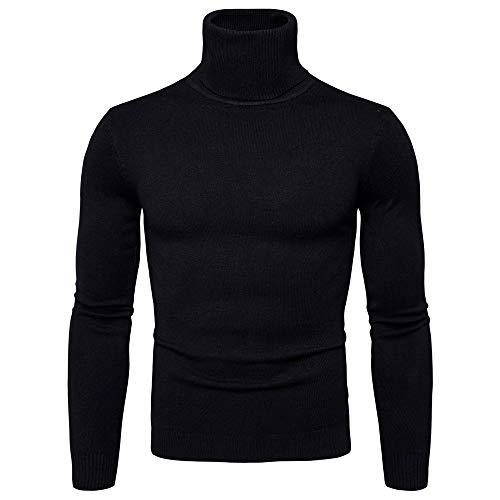 beautyjourney Jersey de Manga Larga de Cuello Alto de los Hombres Suéter de Color sólido de otoño Invierno Camisa básica Slim fit Blusa Tops