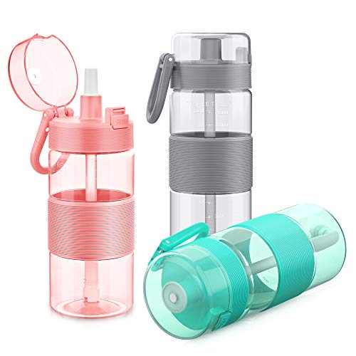 Water Bottle with Straw, 27oz Tritan Plasic Sports Water Bottle With Flip-Up Lid, Spring Buckle, for Outdoor Hiking Camping Travel - BPA Free (Grey)