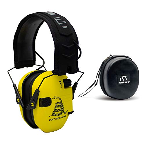 Walker#039s Razor Shooting Muffs Don#039t Tread On Me Yellow with Protective Case Bundle 2 Items