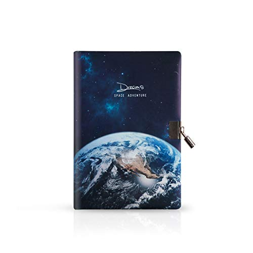 MARSACE A5 PU Cuaderno Diario de Viaje Agenda Bloc Rellenable con Cerradura Espacio Notebook Diary 112 Hojas 21 x 14cm para Niños Niñas Hermoso Planeta