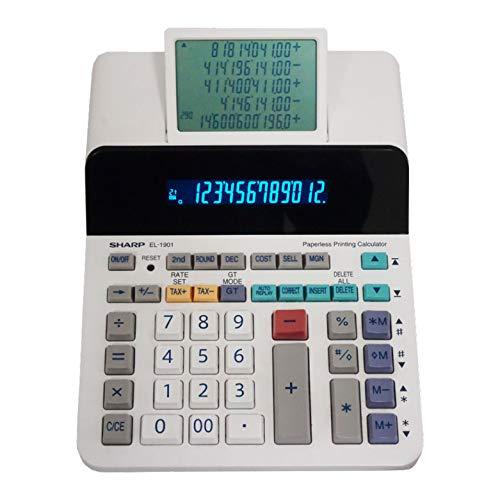 Sharp EL-1901 - Calcolatrice per stampa senza carta con display LCD principale a 12 cifre, funziona come calcolatrice di stampa/aggiunta con display LCD a scorrimento invece di carta