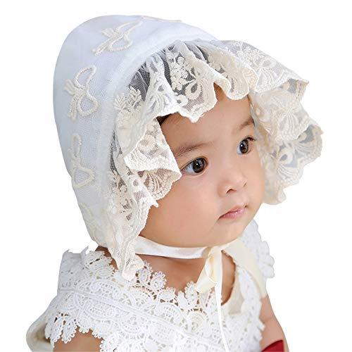 LACOFIA Baby Mütze Neugeborene Mädchen Prinzessin Hut Baumwolle Kleinkind Spitze Blumen Sommer Beanie Cap mit verstellbarem Kinnriemen Beige 0-12 Monate