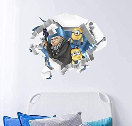Tbagem-Yjr 3D wandaufkleber, wandsticker kinderzimmer Jungen Wandsticker Despicable Me Gebrochene Wandaufkleber 3D Minions Sprung Holes Hauptdekoration Vinyl fototapete 3D Effekt