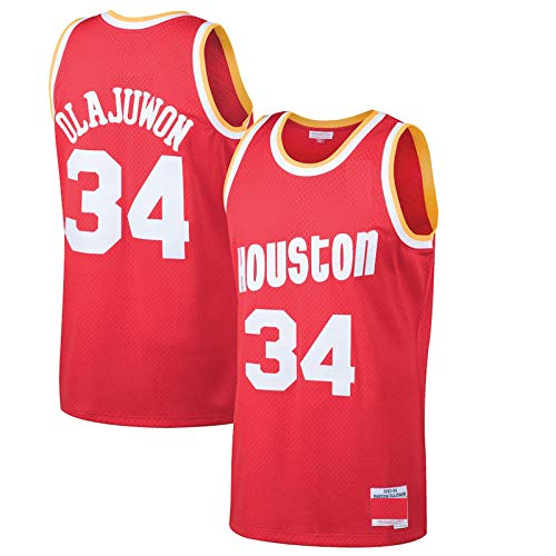 Red - Houston Rockets Men's #34 Sportswear Away Basketball Camiseta Hakeem Olajuwon...