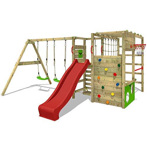 FATMOOSE Parco giochi in legno ActionArena Giochi da giardino con altalena e scivolo rosso, Scala svedese, Barre di scimmia, Struttura da gioco con parete d'arrampicata per bambini