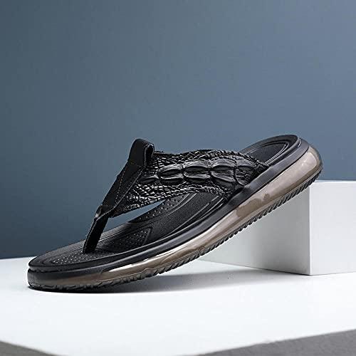 COQUI Sandalia Art Mujer,El Pueblo de los Hombres de Verano atrapan los Hombres de Cuero de los Hombres pelando Zapatillas de pie Transpirable Casual Zapatos de Playa Masculino-Negro_40