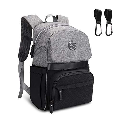 Sunup mochila para pañales con 2 correas para cochecito, Mochila bebé para mamá y papá Bolso cambiador de pañales de viaje, Cremallera abierta con una sola mano (gris-negro)
