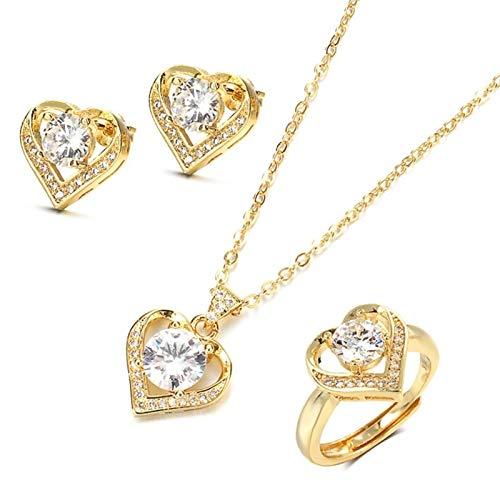 Zircon Women Collares Collares Mujeres delicados de la clavícula (Gem Color : 18K Gold, Ring Size : Resizable)