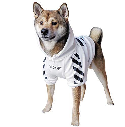 ChoChoCho Woof Dog Hoodie Pet Clothes Stylish Streetwear Sweatshirt Fashion Outfit for Dogs Cats Puppy Small Medium Large (XL, White with Black Stripe)
