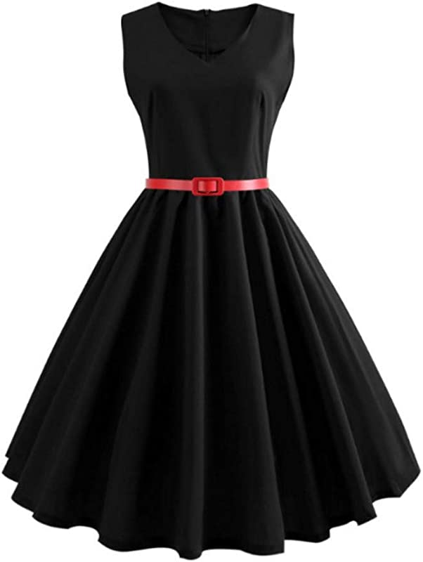 RoDeke Ladies Vintage 1950S Sleeveless Sexy Solid Color Belt Pleated Large Swing Cocktail Party Dress Black