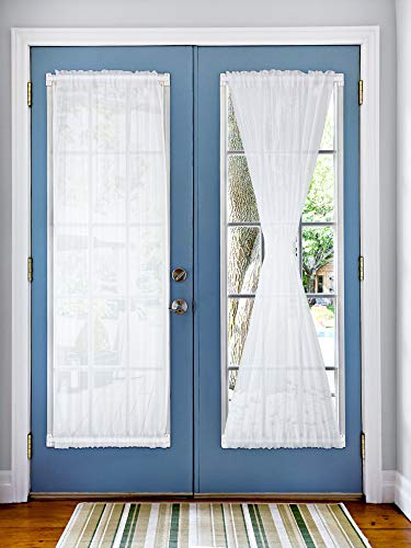 2 Pieces White French Door Panel Curtain Sheer Voile Rod Pocket Curtain Panel, 4 Pieces Adjustable Curtain Rod and 8 Pieces Adhesive Curtain Rod Hooks for Home Decoration (54 x 72 Inches)