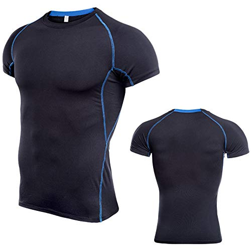 Cxypeng Atmungsaktiv Kurzarmshirt Sports Shirt,Übergroße, kurzärmelige Strumpfhose, schnell trocknende, schweißabsorbierende Sportbekleidung - Schwarz + Blau_4XL,Kurzarm Funktionsshirts TOP