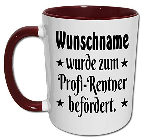 Rentner Tasse mit Name und Spruch, Rente Geschenk Freund Kollege, Ruhestand Geschenk