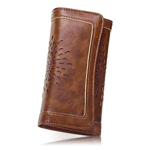 Damen Vintage Geldbörse PU-Leder Portemonnaie RFID Schutz Geldbeutel Damen Lang Portmonee Gross Damen Portmonee mit Knopf (Coffee-FBA)