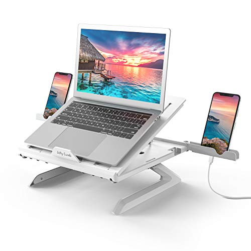 Jelly Comb Laptop Stand, Multi-Angle Adjustable Laptop Riser With Foldable Legs and Phone Holder, Ventilated Notebook Stand Tray for MacBook, Desktop Computer, Tablet (White)