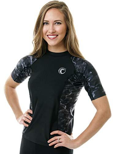 Aqua Design Short Sleeve Rash Guard Women UPF 50+ UV Protection Swim Shirt Top: Black Water/Black: Size X-Large