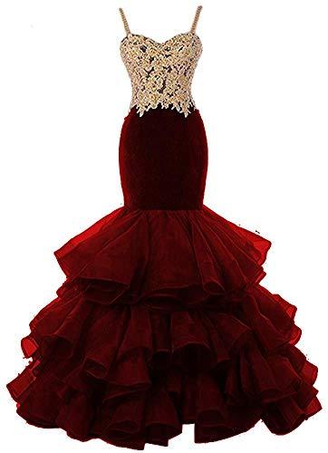 HUINI Abendkleider Meerjungfrau Prinzessin Brautkleider Standesamt Brautmode Hochzeitskleid Organza Ballkleider Lang Burgund 32