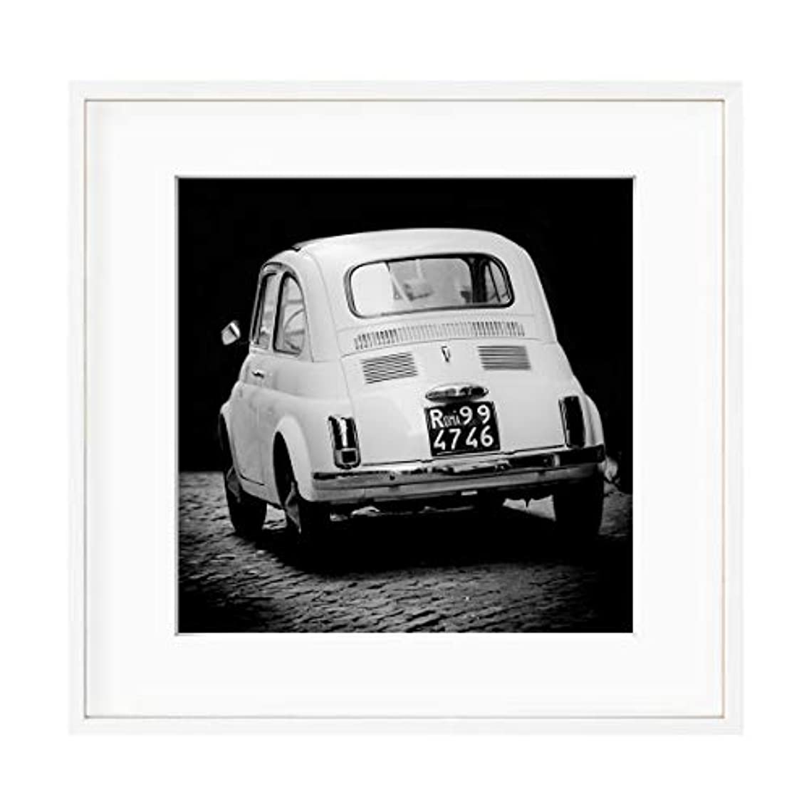 Fiat 500 Black and White Solid Oak Natural Frame with Mount, Multicolored, 60x60