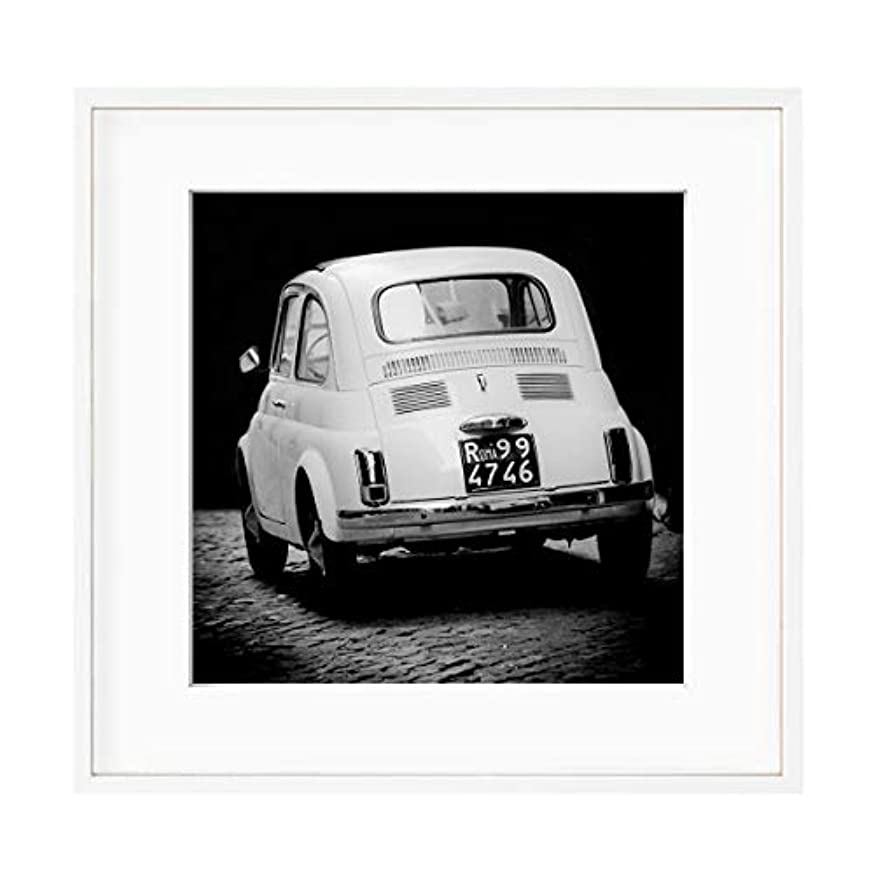 Fiat 500 Black and White Solid Oak Natural Frame with Mount, Multicolored, 40x40