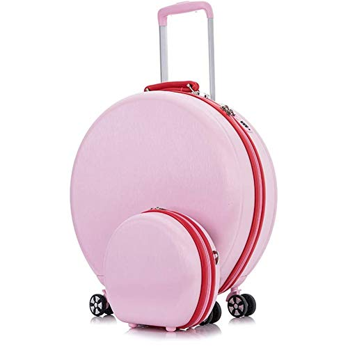 Mini Suitcase Small Carry On Hand Cabin Luggage Fashion Shoulder Bag Trip Trolley Case Hard Shell ABS Travel Bag with Lock 4 Double Spinner (Color : Pink-Set of 2)