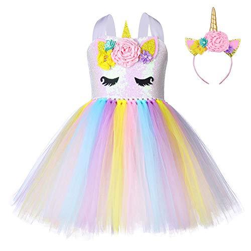 FONLAM Abito da Festa per Ragazze Bambine Infantile Tutu Tulle Vestito da Unicorno Principessa Compleanno a Fiori Carnevale Ragazze (Giallo e Bianco, 7-8 Anni)