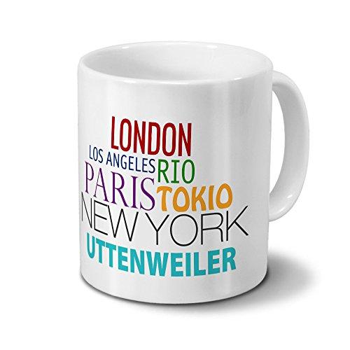 Städtetasse Uttenweiler - Design Famous Cities of the World - Stadt-Tasse, Kaffeebecher, City-Mug, Becher, Kaffeetasse - Farbe Weiß