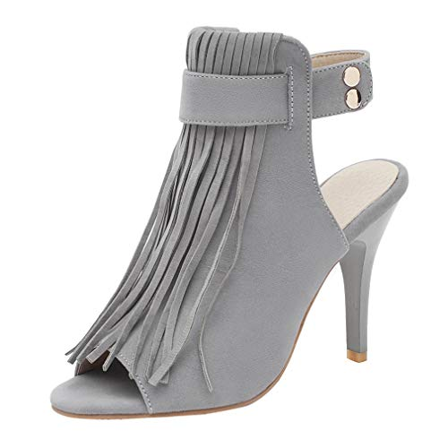 Birdsight Damen Peep Toe Sandalen Riemchen High Heels Sommer Stiefeletten mit Fransen Stiletto Slingback Sandaletten (Grau, 34)