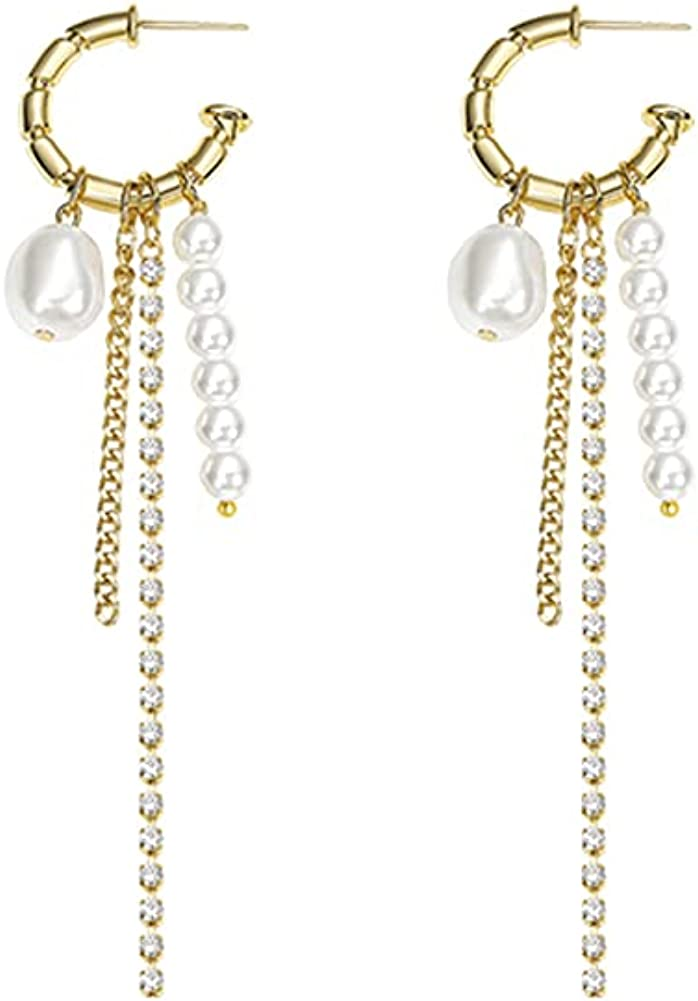 MU3 14K Gold Plated Circle Hoop White Pearls Bead Tassel Dangling Earrings for Women, Statement Baroque Jewelry Gifts for Girls Teens Bridesmaid