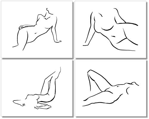 Minimalist Line Art Prints - Abstract Wall Decor - Black & White Female Nudes - (Set of 4) - 8x10 - Unframed