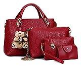 YAQUNICER, conjunto de 4 piezas de cuero PU para mujer, bolso de mano, bolsos de hombro con asa superior, cartera Cltuch-Rojo